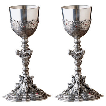 Park Avenue Collection Set Of 2 Santa Croce Pewter Chalices