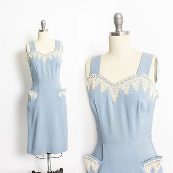 Vintage 1950s Dress - Blue Linen Beaded Wiggle Dress 50s - Small