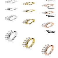 Bendable Hoop Ring with 5 Clear CZ Gems - 3 Color Options - Sold Seperately