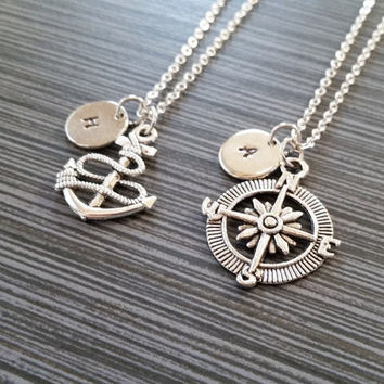 Two Nautical Charm Necklaces - Compass and Anchor Necklaces - Personalized Necklace Gift - Best Friend Necklace - Friendship Necklace