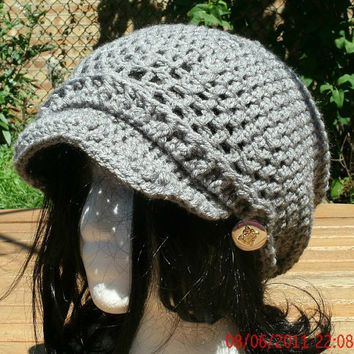 Hand Crocheted Hat - The Hall of Fame Slouch Hat in gray - Crochet Hat -slouchy newsboy cap Women's Hat