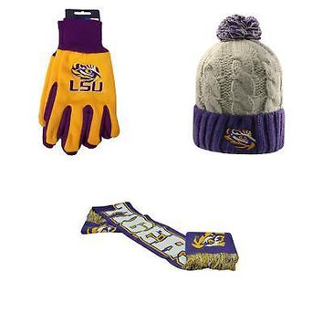 Licensed NCAA LSU Tigers Spirit Scarf Grip Work Glove And Gust Beanie Hat 3 Pack 94191 KO_19_1