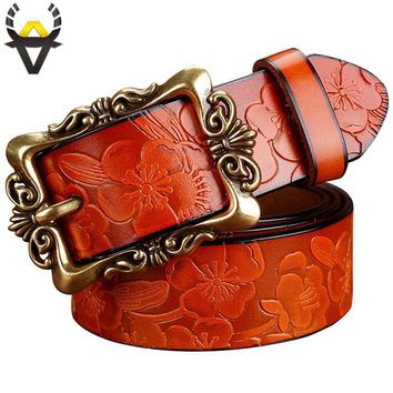 Women genuine Cow Leather Floral design Belt With Victorian Style Heavy Pin Buckle