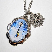 Chronicles of Narnia: Lucy Pevensie at the lamp post photo resin pendant with snowflake charm necklace