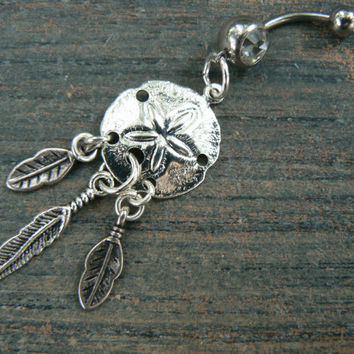 dreamcatcher sand dollar belly ring feathers in beach boho gypsy hippie native tribal belly dancer  beach hipster and fantasy style