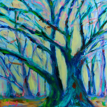Oil Painting - Original - Honeyscolors - Landscape - Trees - Blue - Green - Pink - 12 x 12 - Texture