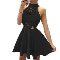 Summer Dress New Women Cute Lace Dresses Hollow out Sexy Backless Beach Resort Wear Casual Pleated Dress Vestidos Plus Szie