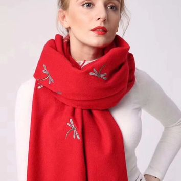 Luxury scarf women,cashmere embroidery dragonfly scarf,bandana,pashmina,wool shawls,women cape,shawls and scarves,one pc sale