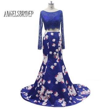 ANGELSBRIDEP Blue Long Sleeve Twp Piece Print Prom Dresses With Lace Bodice Women Dress Special Occasion Dresses