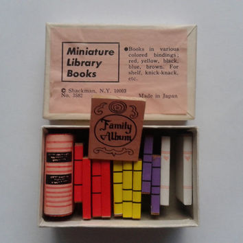 Vintage Miniature Library Books - Shackman, made in Japan - dollhouse