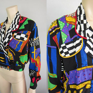 Vintage 80s Op Art Sequin Jacket Abstract Wild Peter Max Boho Artsy Mod Disco Diva Dynasty Dallas Pop Art