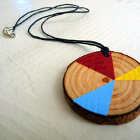 SUNNY STARBURST--geometric wooden necklace, geometric wood necklace jewelry, wooden necklace pendant, painted wooden, chunky wood necklace