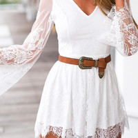 Floral Embroidered Lace Details Mini Dress