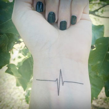 Heartbeat Tattoo - Temporary Tattoo - EKG - Nurse - Life - Heart Rhythm - Set of 2