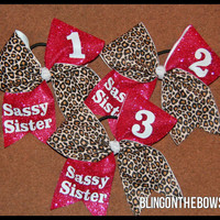 Sassy Sisters 1,2,3 cheer bow set