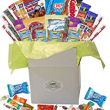 Snack Gift Basket Care Package with Sweet and Salty Snacks 26 Count Plus Bonus Candy | For College Students, Thank You Gifts, Military Appreciation, Birthday Gift Ideas, or Thinking of You