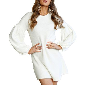 Long Sleeve Women Mini Dress Kintted Vestidos O neck Casual Short Grey Dresses