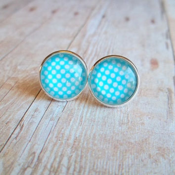 P O L K A - Turquoise Teal Blue and White Polka Dot Photo Glass Cab Circle Silver Plated Post Earrings