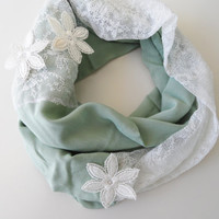 mint scarfinfinity scarf, lace and mint fabrik scarf, scarves, spring trends, spring