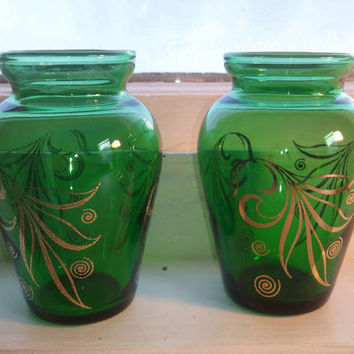 Vintage, Mid Century Modern, Decorative, Vases, Green, Small, RhymeswithDaughter