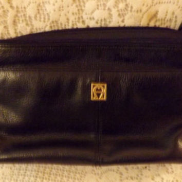 Vintage Etienne Aigner Black Leather Shoulder Bag Clutch  Handbag