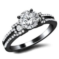 1.14ct Round Cut Diamond Engagement Ring 18K Black Gold Rhodium Plating Over White Gold With a 0.66ct Center White Diamond and 0.48ct of Surrounding Diamonds