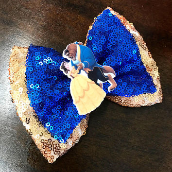 Double Beauty and The Beast Sequin Bow - Sparkly Hair Bows -