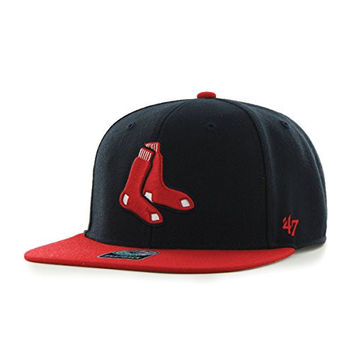 MLB Boston Red Sox Sure Shot Two Tone Captain Adjustable Snapback Hat, Navy, One Size
