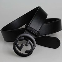 """Gucci"" Unisex Fashion Simple All-match Metal Letter Double G Needle Buckle Cowhide Genuine Leather Belt Waistband"