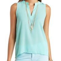 SHEER SLEEVELESS DEEP V TUNIC TOP