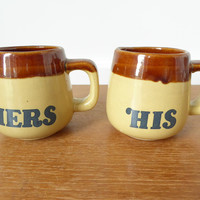 His and Hers glazed ceramic mugs, 8 ounce capacity