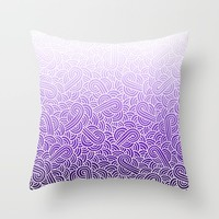 Ombre purple and white swirls zentangle Throw Pillow by Savousepate
