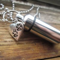 Cremation Urn Necklace Or Keychain w/ Paw Prints Charm, Pet Ashes, Cremation Jewelry, Pill Holder, Urn For Ashes, Memorial Necklace