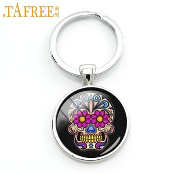 Day of the Dead gifts Sugar skull key chain charming bright colorful flowers sugar skull keychain