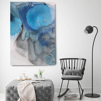 """Coastal Watercolor Abstract 25. Watercolor Abstract Blue Black Canvas Art Print, Extra Large Canvas Art Print up to 72"""" by Irena Orlov"""