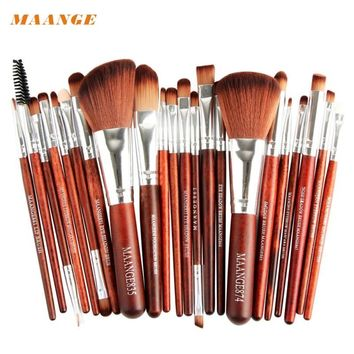 MAANGE New Brown 22pcs Synthetic Hair Cosmetic Makeup Brush Blusher Eye Shadow Brushes Set Kit Beauty Girl M30X17