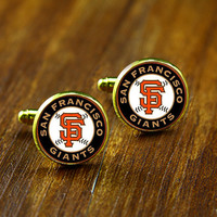 Cufflink -Gold  San Francisco Giants Alternate  Cufflink,Wedding cufflink,Father of the bride or Groom Cufflink