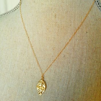 14k gold filled leaf necklace