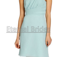 chiffon A-line bridesmaid dress, one shoulder neckline with asymmetrically draped waistband, soft gathered skirt.