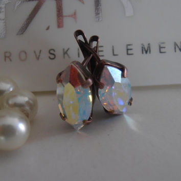 Aurora Borealis, Swarovski Earrings, Navette, Wedding, Bridal, Crystal, Dainty, 15x11mm, Drop, Dangle, Vintage, Leverback Earrings
