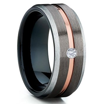 White Tungsten Ring - Gunmetal Tungsten Ring - Rose Gold - Black Tungsten