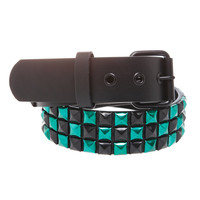 Green Black Checkered Anodized Pyramid Stud Belt | Hot Topic