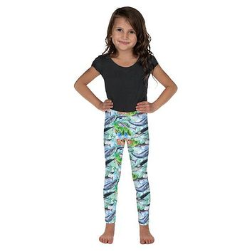 Girls Sea Life Ocean Animals Pattern Toddler and Kid's Leggings with Sharks, Whales, Dolphins, Sea Turtles and Octopus