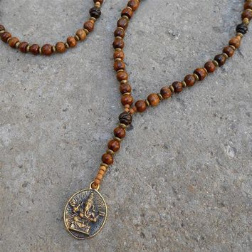 Success, Wood and Ganesh Pendant Unisex Necklace