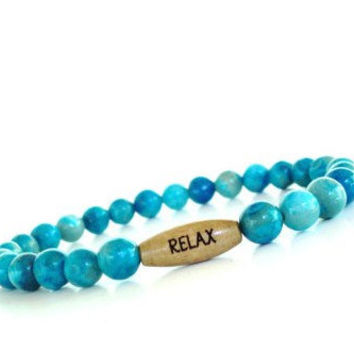 Relax Mala Bracelet Yoga Jewelry Beaded Stretch Spiritual Healing Blue Protection Agate Unique Gift For Her Under 20 Item Z74