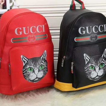 """Gucci"" Unisex Casual Fashion Cat Double G Embossed Backpack Large Capacity Multicolor Stripe  Shoulders Bag"