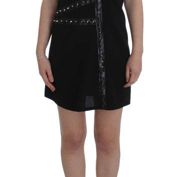 Black Wool Studded Mini Dress