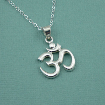 Large Om Necklace , sterling silver yoga necklace , buddha necklace