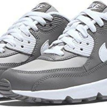Nike AIR MAX 90 LTR (GS) boys running-shoes 833412-003_4Y - WOLF GREY/WHITE-COOL GREY