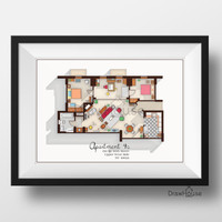 How I Met Your Mother Apartment - Famous TV Show Floor Plan - Modern Art Poster for Residence of Ted Mosby - Wall Decor
